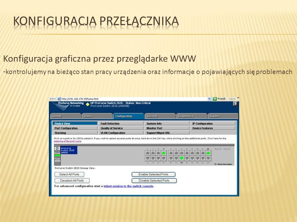 Konfiguracja graficzna przez przeglądarke WWW - kontrolujemy na bieżąco stan pracy urządzenia oraz informacje o pojawiających się problemach