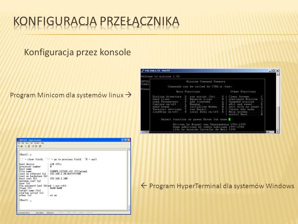 Konfiguracja przez konsole Program Minicom dla systemów linux Program HyperTerminal dla systemów Windows
