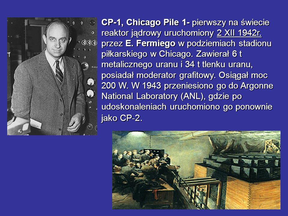 CP-1, Chicago Pile 1- pierwszy na świecie reaktor jądrowy uruchomiony 2 XII 1942r. przez E. Fermiego w podziemiach stadionu piłkarskiego w Chicago. Za