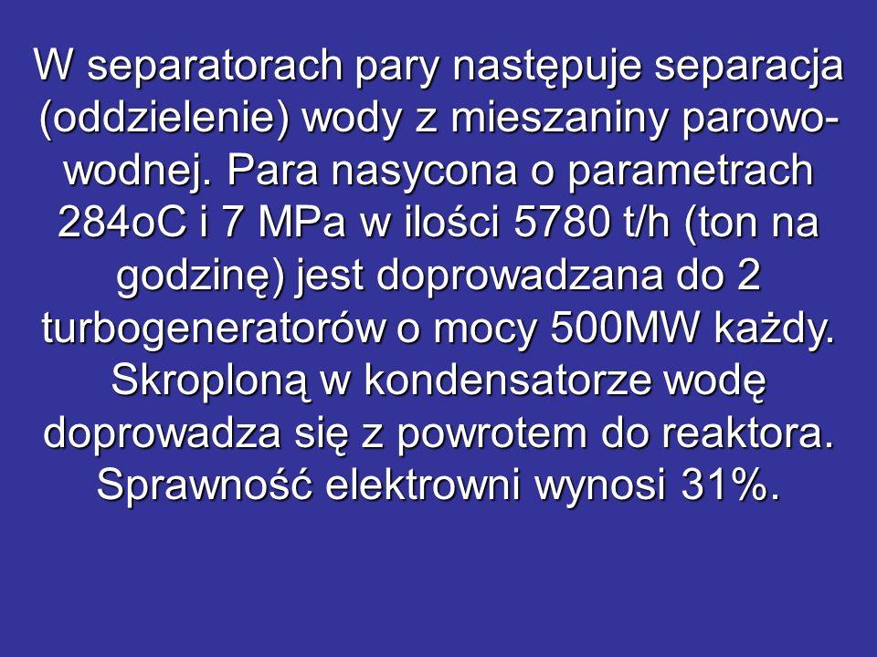 W separatorach pary następuje separacja (oddzielenie) wody z mieszaniny parowo- wodnej. Para nasycona o parametrach 284oC i 7 MPa w ilości 5780 t/h (t
