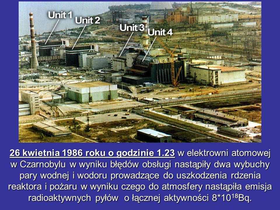 26 kwietnia 1986 roku o godzinie 1.23 w elektrowni atomowej w Czarnobylu w wyniku błędów obsługi nastąpiły dwa wybuchy pary wodnej i wodoru prowadzące