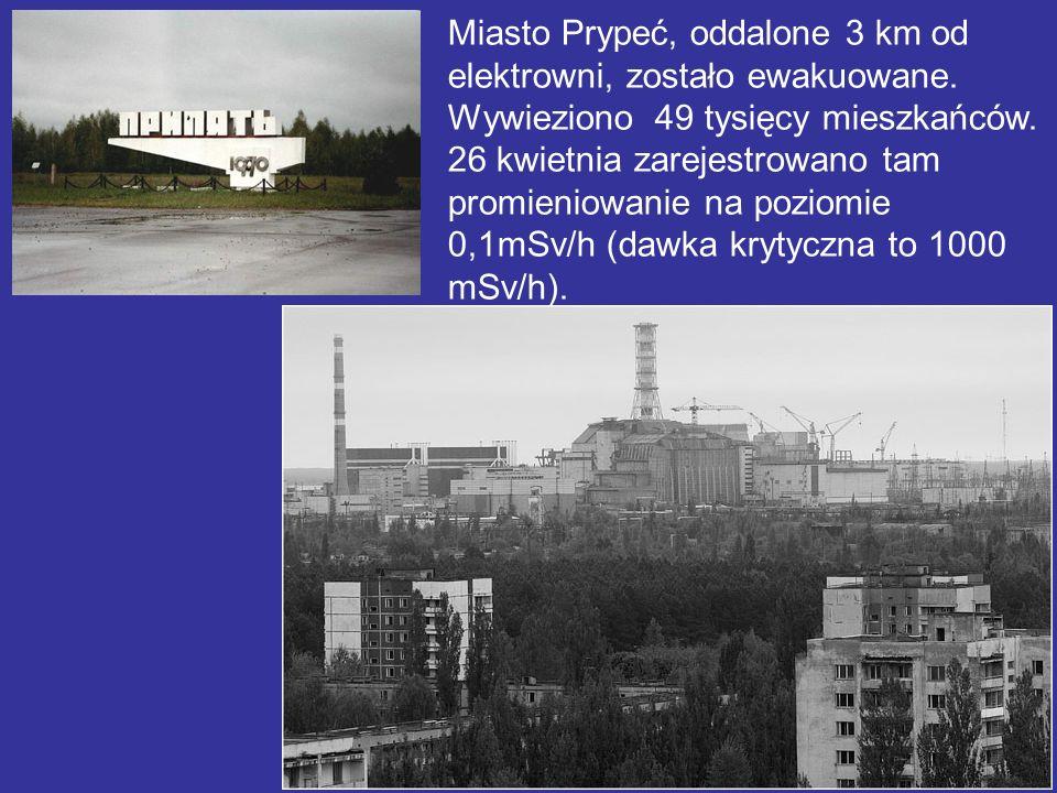 Miasto Prypeć, oddalone 3 km od elektrowni, zostało ewakuowane. Wywieziono 49 tysięcy mieszkańców. 26 kwietnia zarejestrowano tam promieniowanie na po