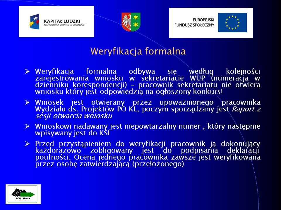 Weryfikacja formalna Weryfikacja formalna odbywa się według kolejności zarejestrowania wniosku w sekretariacie WUP (numeracja w dzienniku korespondenc