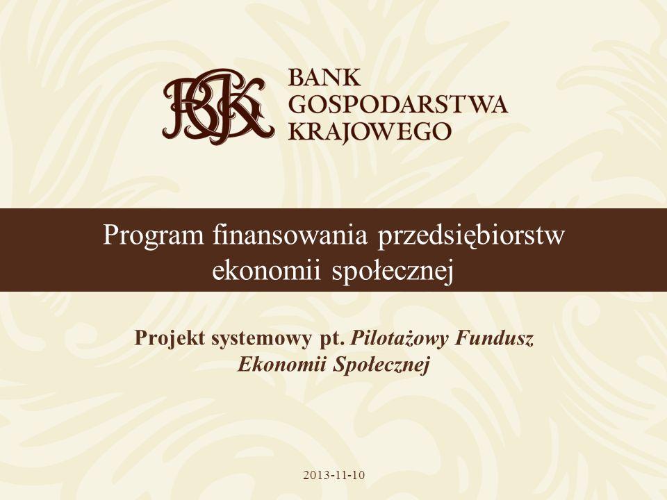 Program finansowania przedsiębiorstw ekonomii społecznej Projekt systemowy pt. Pilotażowy Fundusz Ekonomii Społecznej 2013-11-10