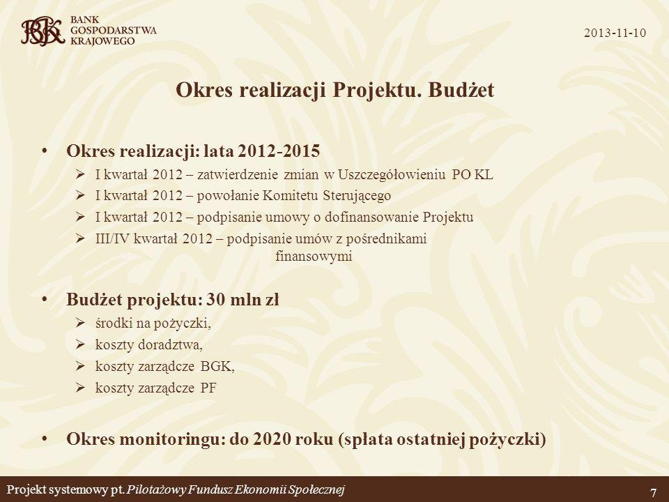 Okres realizacji Projektu. Budżet Okres realizacji: lata 2012-2015 I kwartał 2012 – zatwierdzenie zmian w Uszczegółowieniu PO KL I kwartał 2012 – powo