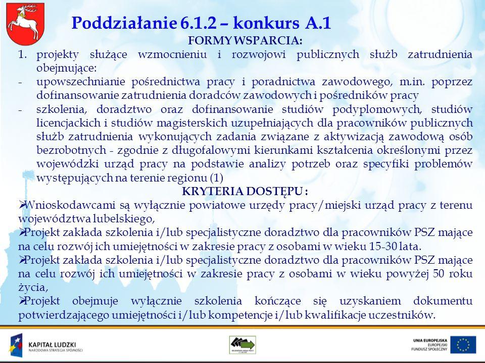 Poddziałanie 6.1.2 – konkurs A.1 FORMY WSPARCIA: 1.projekty służące wzmocnieniu i rozwojowi publicznych służb zatrudnienia obejmujące: -upowszechniani