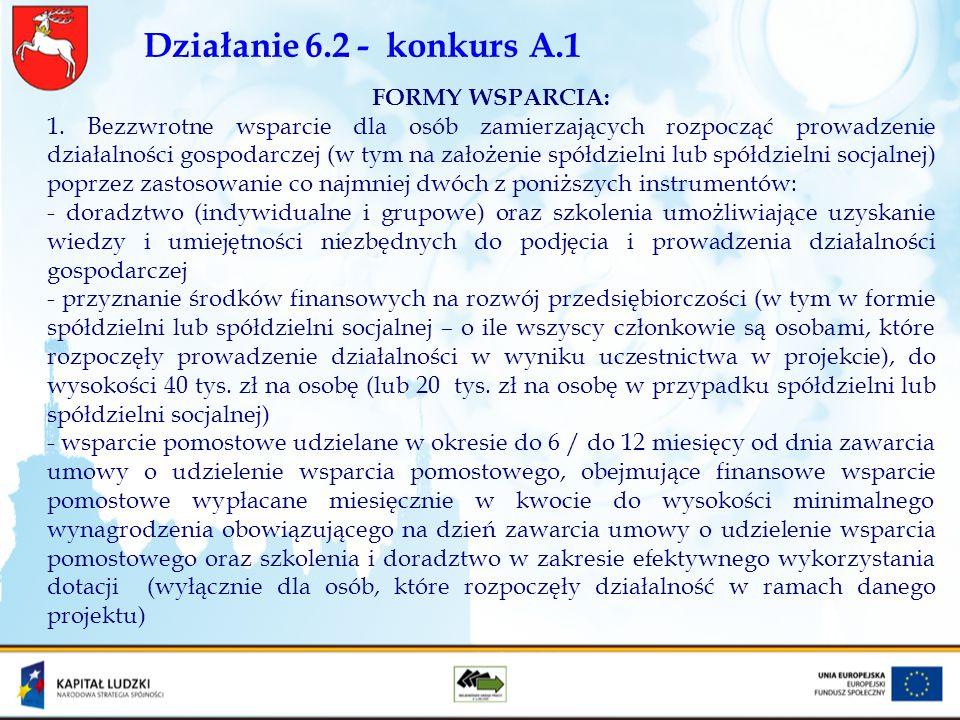 Działanie 6.2 - konkurs A.1 FORMY WSPARCIA: 1. Bezzwrotne wsparcie dla osób zamierzających rozpocząć prowadzenie działalności gospodarczej (w tym na z