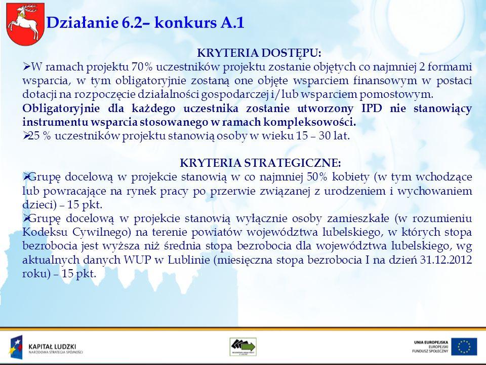 Działanie 6.2– konkurs A.1 KRYTERIA DOSTĘPU: W ramach projektu 70% uczestników projektu zostanie objętych co najmniej 2 formami wsparcia, w tym obliga
