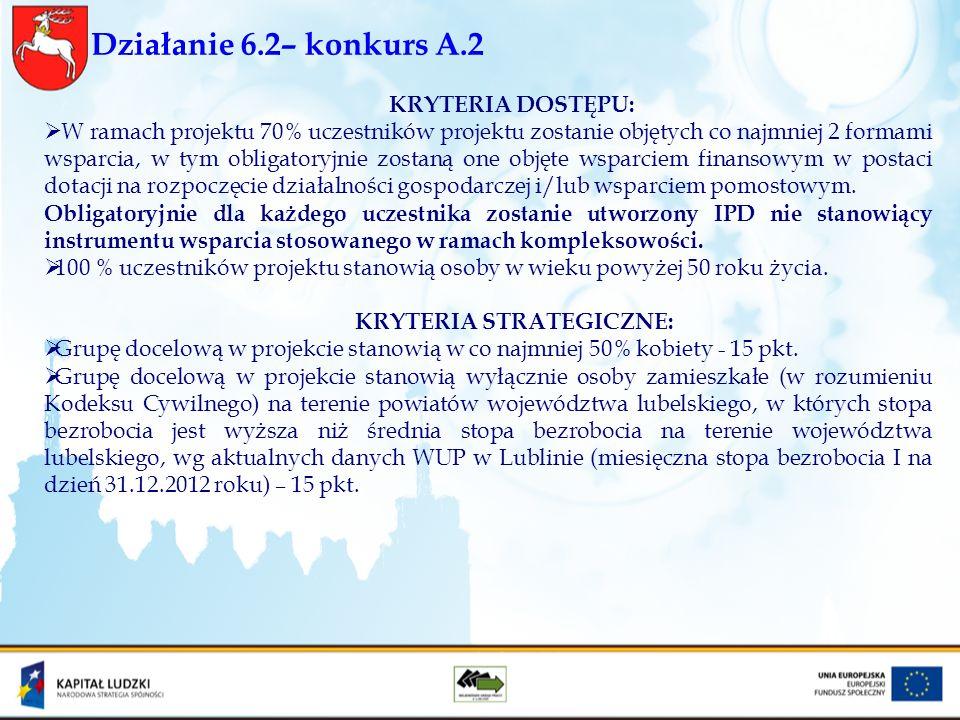 Działanie 6.2– konkurs A.2 KRYTERIA DOSTĘPU: W ramach projektu 70% uczestników projektu zostanie objętych co najmniej 2 formami wsparcia, w tym obliga