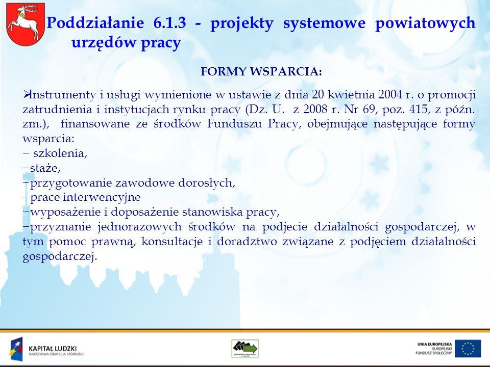 Poddziałanie 6.1.3 - projekty systemowe powiatowych urzędów pracy FORMY WSPARCIA: Instrumenty i usługi wymienione w ustawie z dnia 20 kwietnia 2004 r.