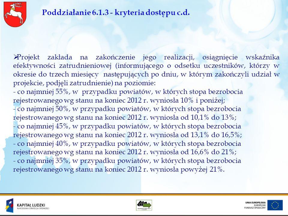 Poddziałanie 6.1.3 - kryteria dostępu c.d. Projekt zakłada na zakończenie jego realizacji, osiągnięcie wskaźnika efektywności zatrudnieniowej (informu