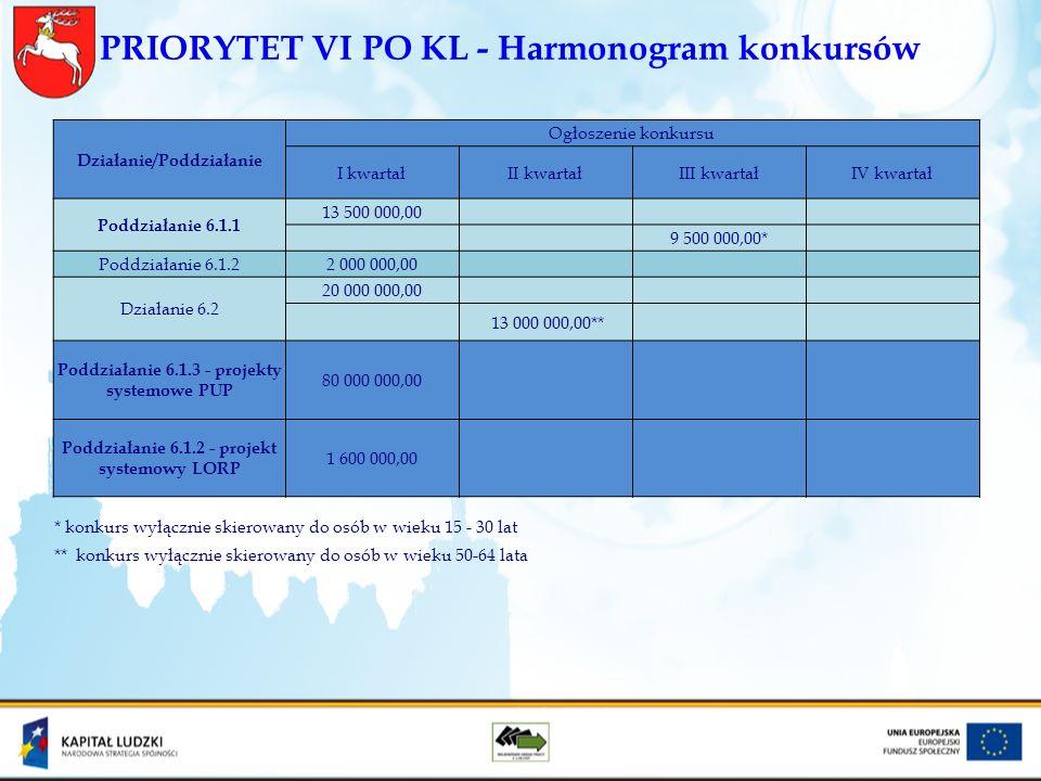 PRIORYTET VI PO KL - Harmonogram konkursów Działanie/Poddziałanie Ogłoszenie konkursu I kwartałII kwartałIII kwartałIV kwartał Poddziałanie 6.1.1 13 5