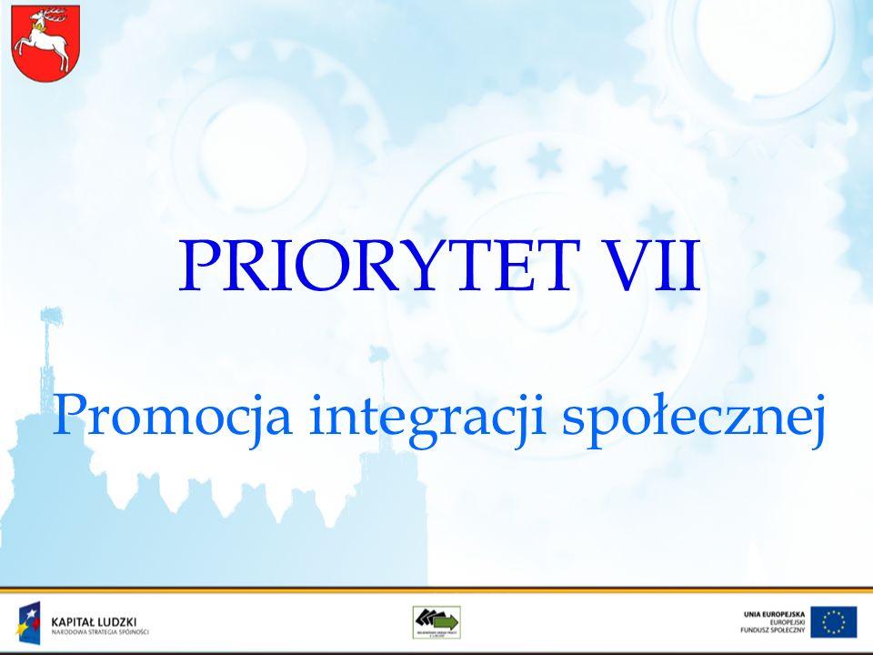 PRIORYTET VII Promocja integracji społecznej