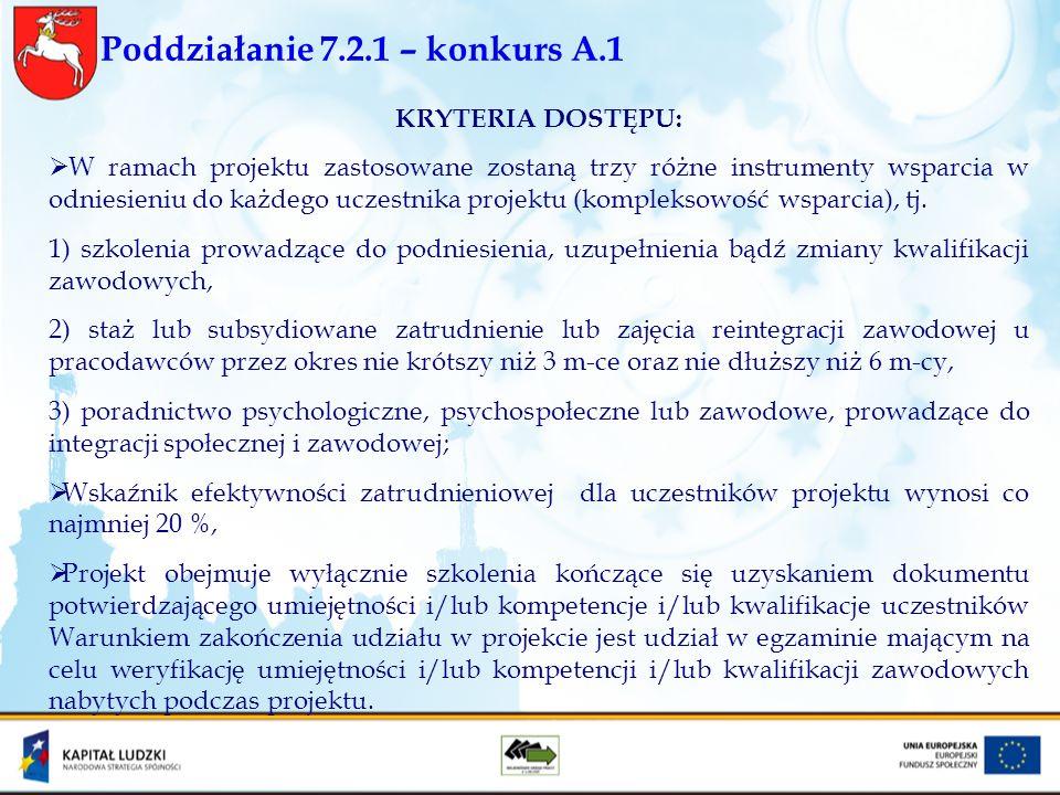 Poddziałanie 7.2.1 – konkurs A.1 KRYTERIA DOSTĘPU: W ramach projektu zastosowane zostaną trzy różne instrumenty wsparcia w odniesieniu do każdego ucze