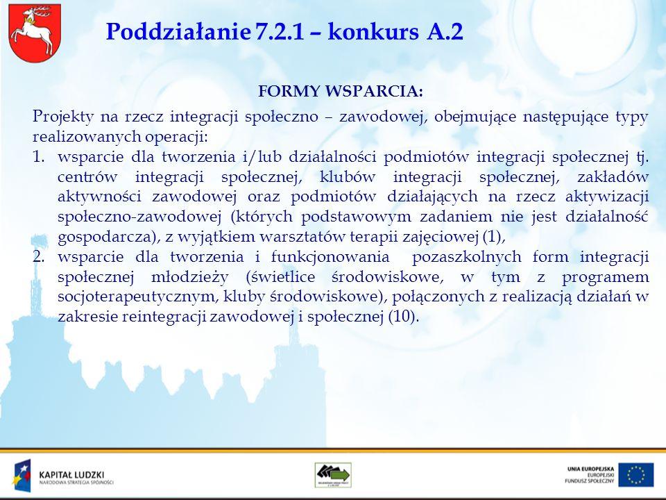 Poddziałanie 7.2.1 – konkurs A.2 FORMY WSPARCIA: Projekty na rzecz integracji społeczno – zawodowej, obejmujące następujące typy realizowanych operacj