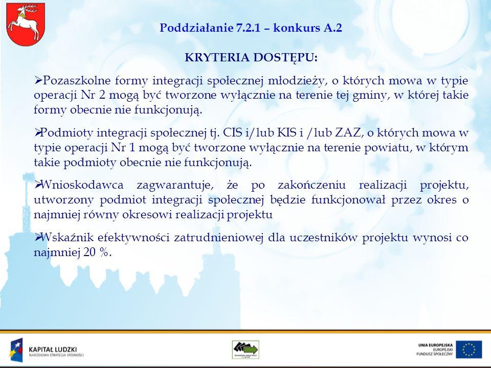 Poddziałanie 7.2.1 – konkurs A.2 KRYTERIA DOSTĘPU: Pozaszkolne formy integracji społecznej młodzieży, o których mowa w typie operacji Nr 2 mogą być tw