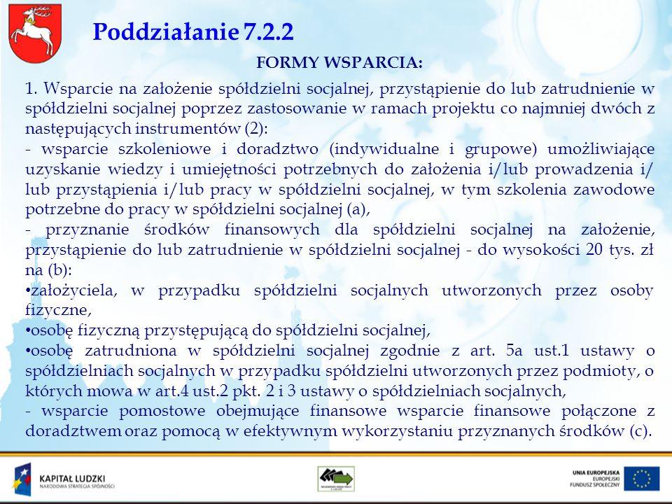 Poddziałanie 7.2.2 FORMY WSPARCIA: 1. Wsparcie na założenie spółdzielni socjalnej, przystąpienie do lub zatrudnienie w spółdzielni socjalnej poprzez z