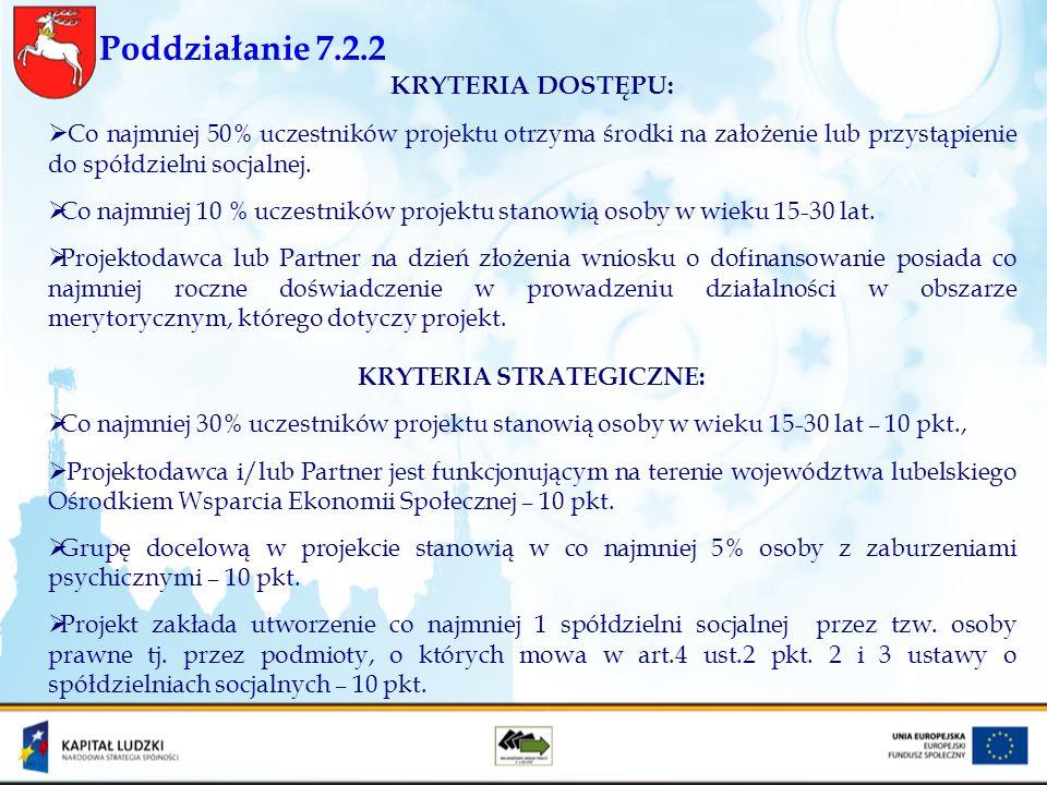Poddziałanie 7.2.2 KRYTERIA DOSTĘPU: Co najmniej 50% uczestników projektu otrzyma środki na założenie lub przystąpienie do spółdzielni socjalnej. Co n