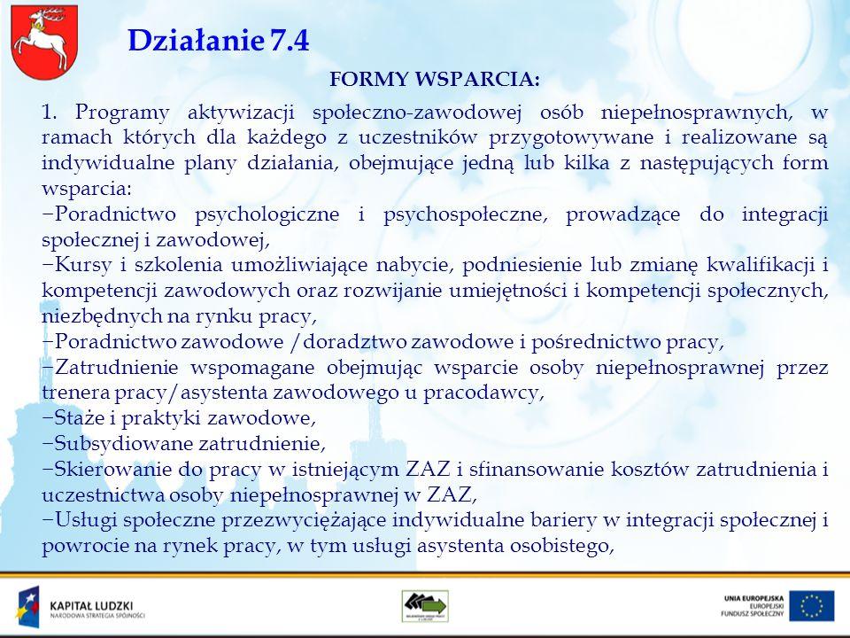 Działanie 7.4 FORMY WSPARCIA: 1. Programy aktywizacji społeczno-zawodowej osób niepełnosprawnych, w ramach których dla każdego z uczestników przygotow