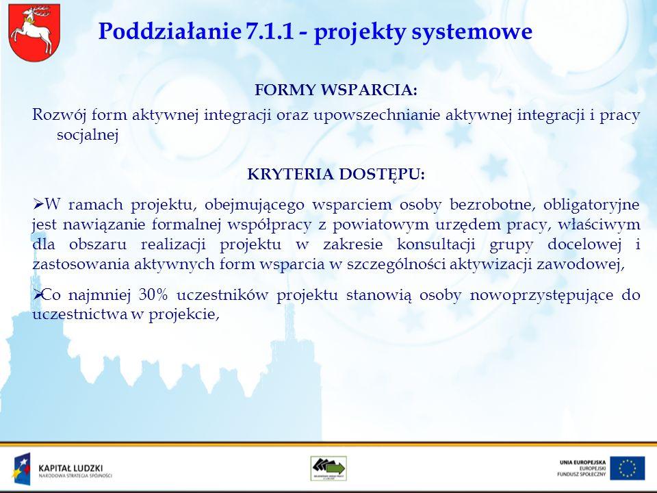 Poddziałanie 7.1.1 - projekty systemowe FORMY WSPARCIA: Rozwój form aktywnej integracji oraz upowszechnianie aktywnej integracji i pracy socjalnej KRY