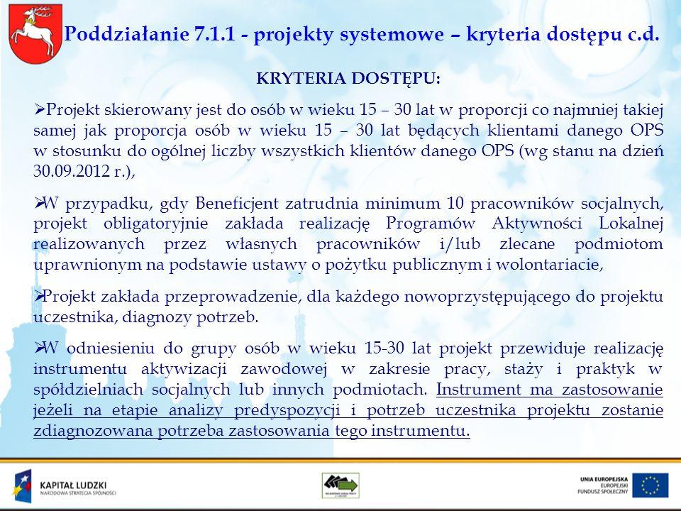 Poddziałanie 7.1.1 - projekty systemowe – kryteria dostępu c.d. KRYTERIA DOSTĘPU: Projekt skierowany jest do osób w wieku 15 – 30 lat w proporcji co n