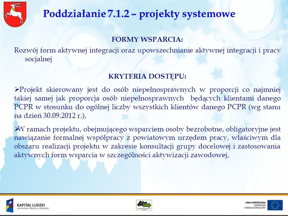 Poddziałanie 7.1.2 – projekty systemowe FORMY WSPARCIA: Rozwój form aktywnej integracji oraz upowszechnianie aktywnej integracji i pracy socjalnej KRY