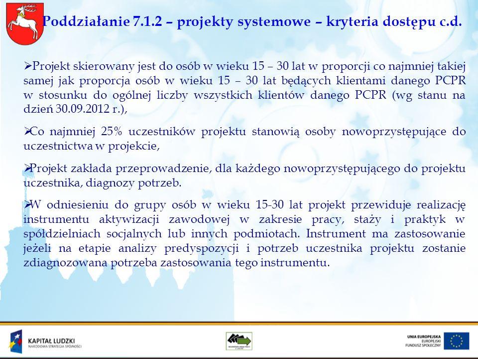 Poddziałanie 7.1.2 – projekty systemowe – kryteria dostępu c.d. Projekt skierowany jest do osób w wieku 15 – 30 lat w proporcji co najmniej takiej sam