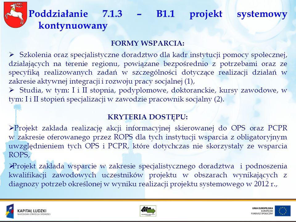 Poddziałanie 7.1.3 – B1.1 projekt systemowy kontynuowany FORMY WSPARCIA: Szkolenia oraz specjalistyczne doradztwo dla kadr instytucji pomocy społeczne