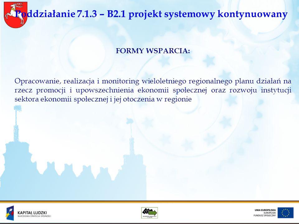 Poddziałanie 7.1.3 – B2.1 projekt systemowy kontynuowany FORMY WSPARCIA: Opracowanie, realizacja i monitoring wieloletniego regionalnego planu działań