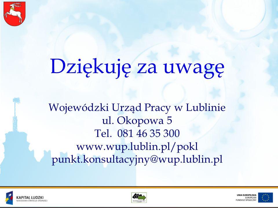Dziękuję za uwagę Wojewódzki Urząd Pracy w Lublinie ul. Okopowa 5 Tel. 081 46 35 300 www.wup.lublin.pl/pokl punkt.konsultacyjny@wup.lublin.pl