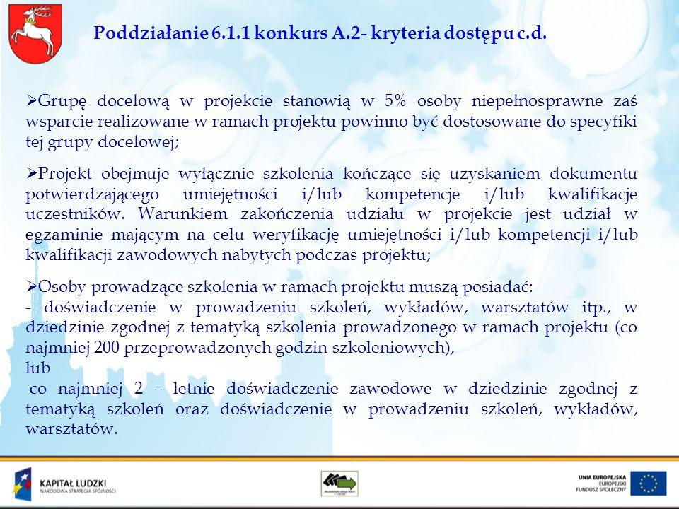 Poddziałanie 6.1.1 konkurs A.2- kryteria dostępu c.d. Grupę docelową w projekcie stanowią w 5% osoby niepełnosprawne zaś wsparcie realizowane w ramach