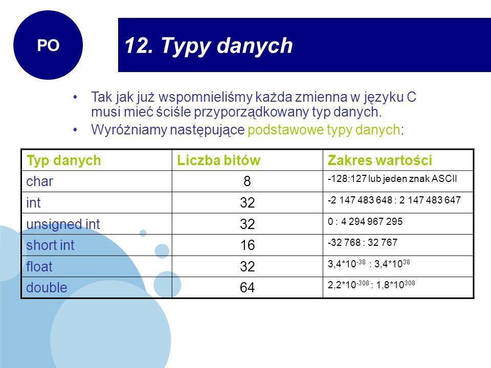 12. Typy danych PO Tak jak już wspomnieliśmy każda zmienna w języku C musi mieć ściśle przyporządkowany typ danych. Wyróżniamy następujące podstawowe