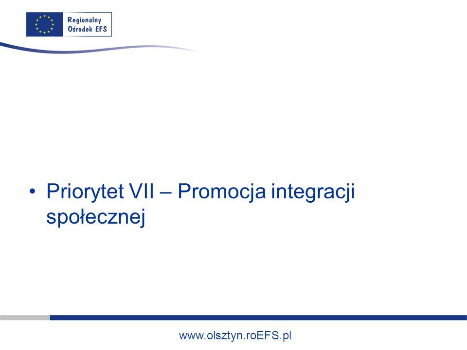 www.olsztyn.roEFS.pl Priorytet VII – Promocja integracji społecznej