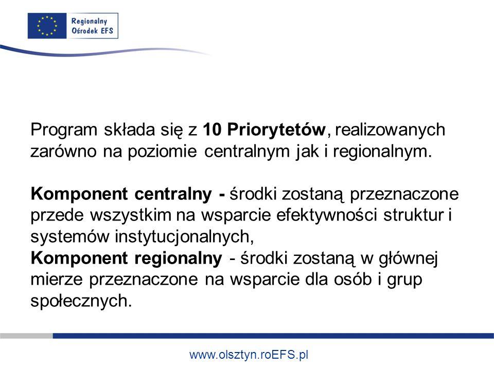 www.olsztyn.roEFS.pl Program składa się z 10 Priorytetów, realizowanych zarówno na poziomie centralnym jak i regionalnym.