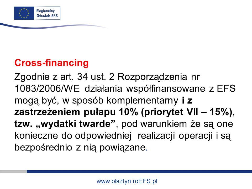 www.olsztyn.roEFS.pl Cross-financing Zgodnie z art.