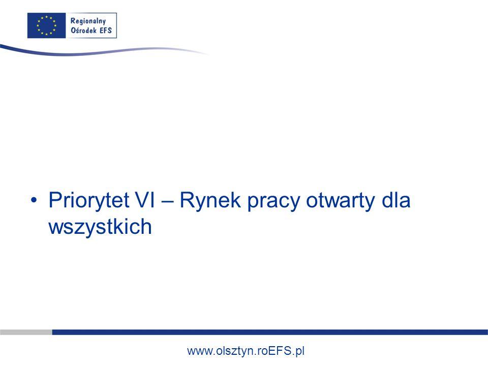 www.olsztyn.roEFS.pl Priorytet VI – Rynek pracy otwarty dla wszystkich
