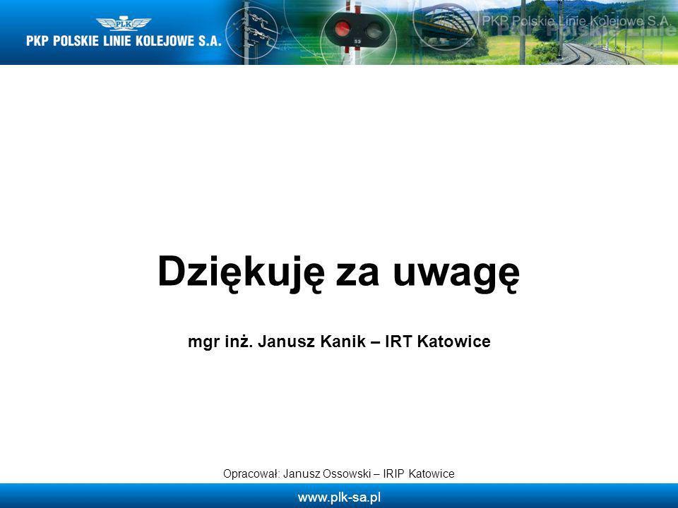 Dziękuję za uwagę Opracował: Janusz Ossowski – IRIP Katowice mgr inż. Janusz Kanik – IRT Katowice