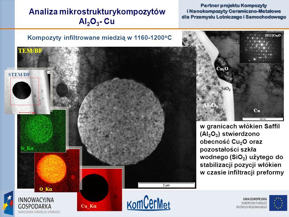 Partner projektu Kompozyty i Nanokompozyty Ceramiczno-Metalowe dla Przemys ł u Lotniczego i Samochodowego Cu 2 O Cu Al 2 O 3 SiO 2 Analiza mikrostrukt
