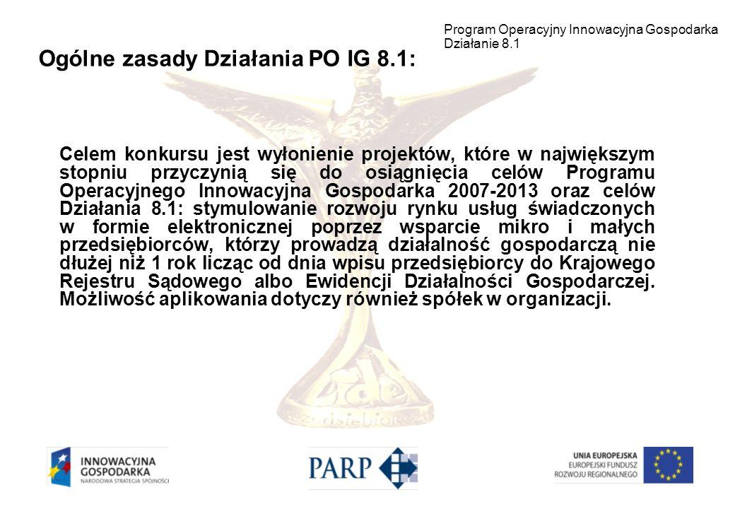 Kwota środków przeznaczonych na dofinansowanie projektów w ramach Działania 8.1 POIG wynosi ok.385 mln Euro.