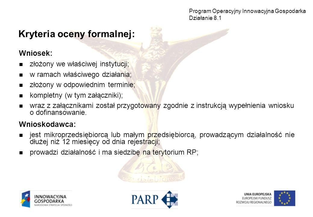 Wniosek: złożony we właściwej instytucji; w ramach właściwego działania; złożony w odpowiednim terminie; kompletny (w tym załączniki); wraz z załączni