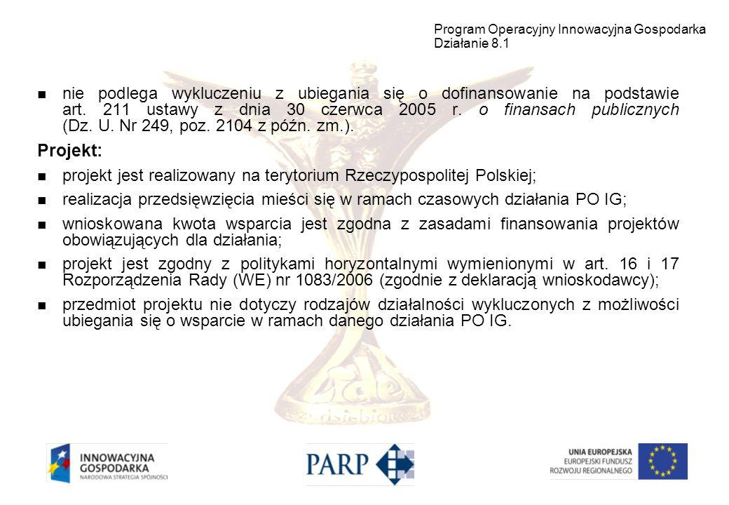 Wnioskodawca nie podlega wykluczeniu z ubiegania się o dofinansowanie na podstawie ustawy z dnia 9 listopada 2000 r.
