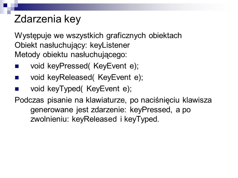 Zdarzenia key Występuje we wszystkich graficznych obiektach Obiekt nasłuchujący: keyListener Metody obiektu nasłuchującego: void keyPressed( KeyEvent