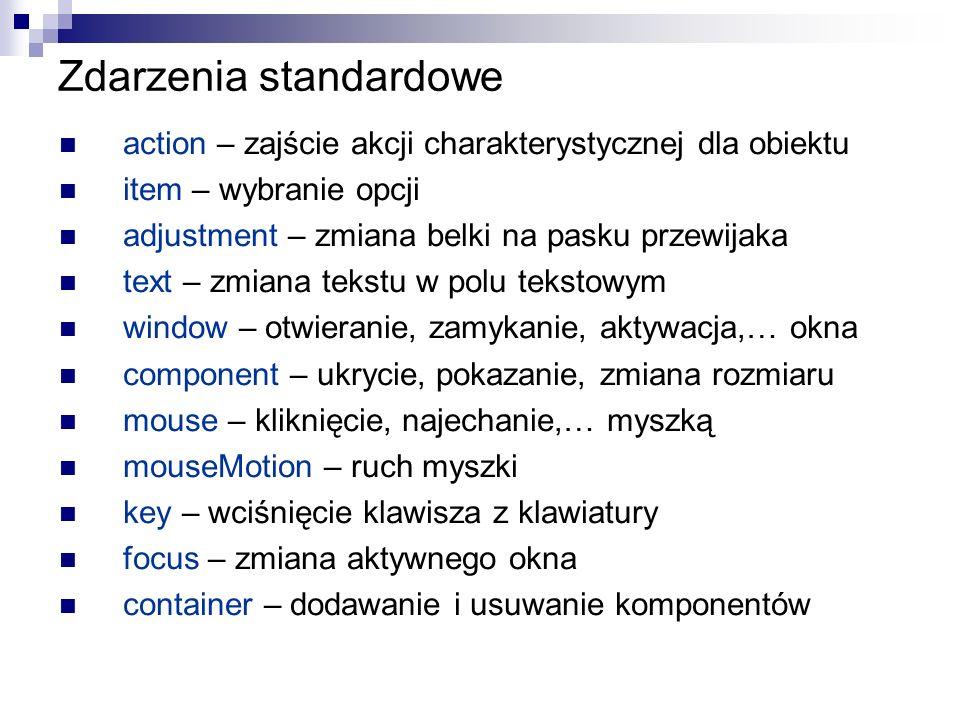 Zdarzenia standardowe action – zajście akcji charakterystycznej dla obiektu item – wybranie opcji adjustment – zmiana belki na pasku przewijaka text –
