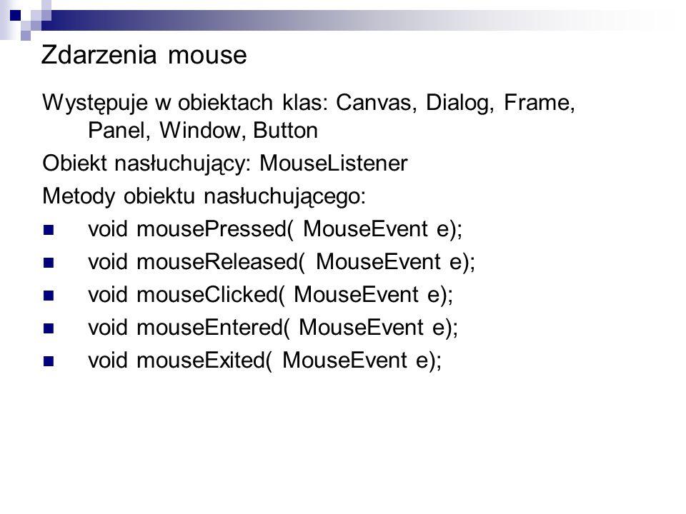Zdarzenia mouse Występuje w obiektach klas: Canvas, Dialog, Frame, Panel, Window, Button Obiekt nasłuchujący: MouseListener Metody obiektu nasłuchując