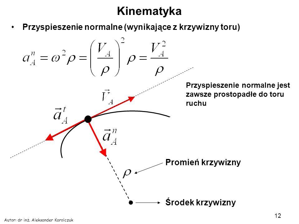 Autor: dr inż. Aleksander Karolczuk 12 Kinematyka Przyspieszenie normalne (wynikające z krzywizny toru) Promień krzywizny Przyspieszenie normalne jest