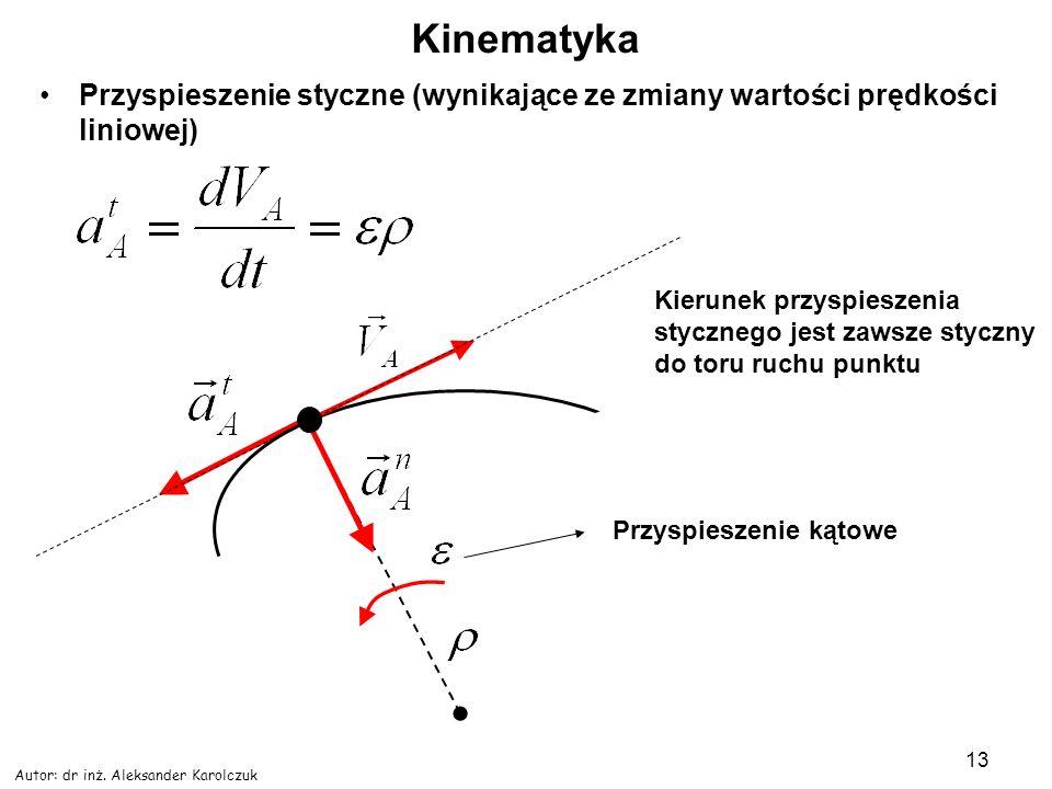 Autor: dr inż. Aleksander Karolczuk 13 Kinematyka Przyspieszenie styczne (wynikające ze zmiany wartości prędkości liniowej) Kierunek przyspieszenia st