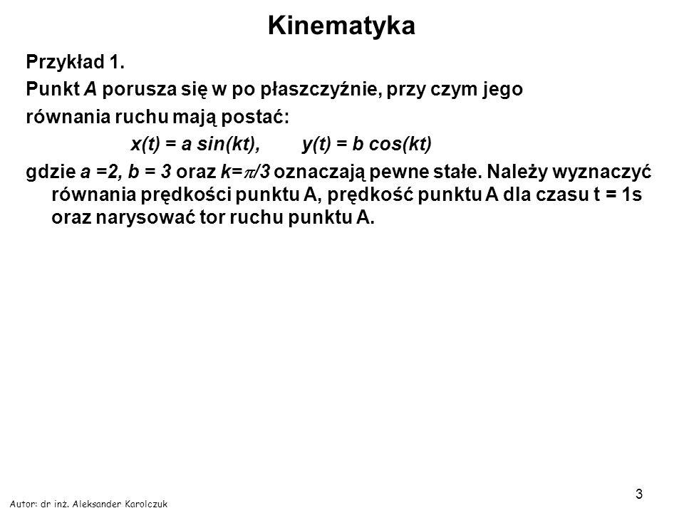 Autor: dr inż. Aleksander Karolczuk 3 Kinematyka Przykład 1. Punkt A porusza się w po płaszczyźnie, przy czym jego równania ruchu mają postać: x(t) =