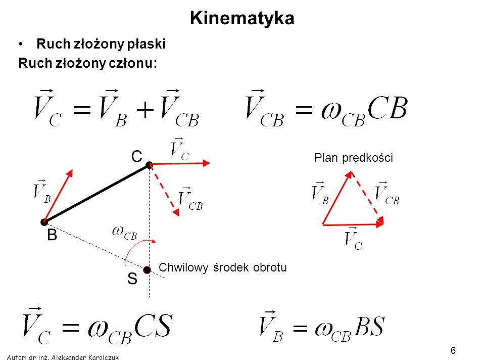 Autor: dr inż.Aleksander Karolczuk 7 Kinematyka Zadanie 3.