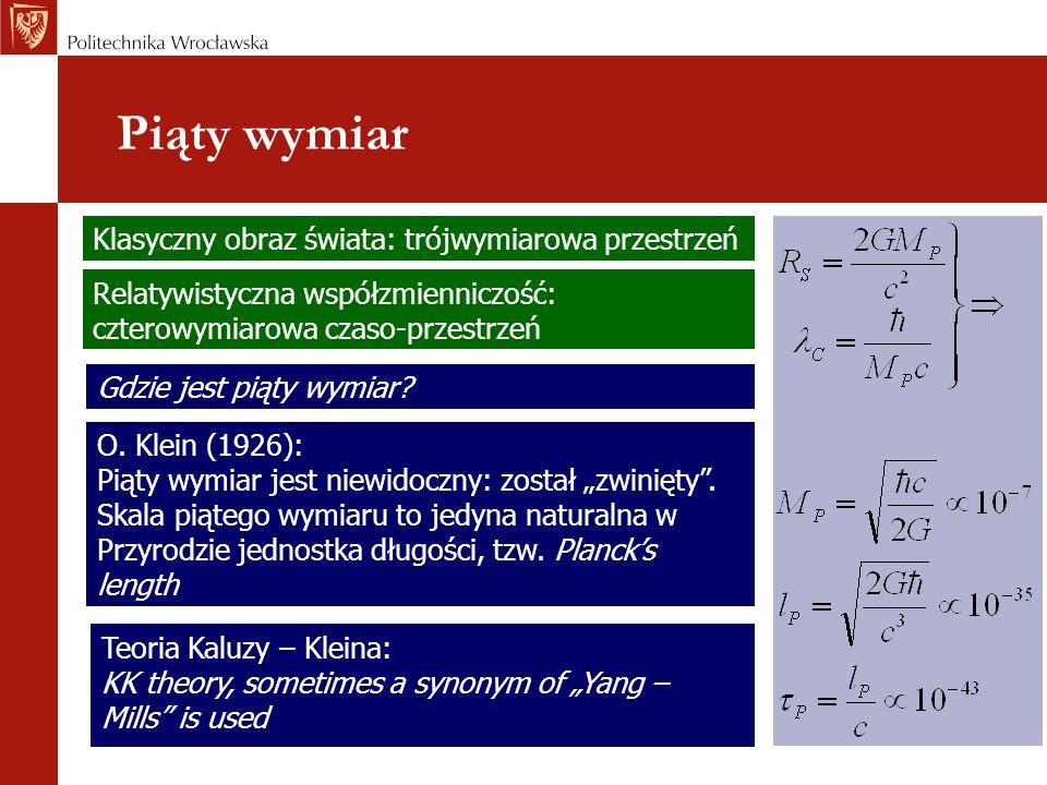 Piąty wymiar Gdzie jest piąty wymiar? Teoria Kaluzy – Kleina: KK theory, sometimes a synonym of Yang – Mills is used O. Klein (1926): Piąty wymiar jes