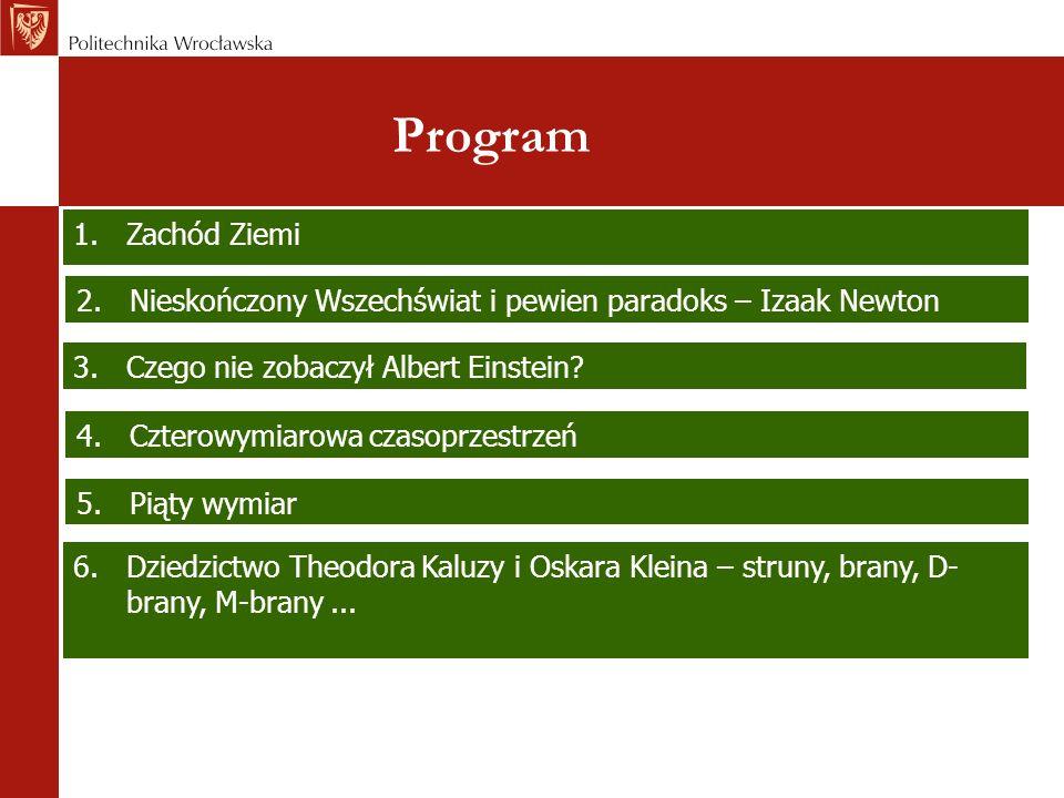 Program 6.Dziedzictwo Theodora Kaluzy i Oskara Kleina – struny, brany, D- brany, M-brany... 2.Nieskończony Wszechświat i pewien paradoks – Izaak Newto